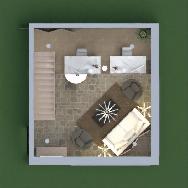 Office space with kitchen and living area and a small dining room