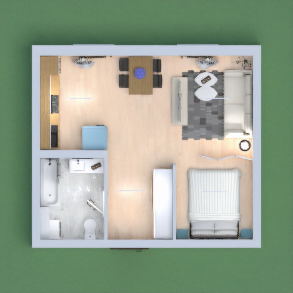 Small flat with main areas, like kitchen, living room, bedroom and bathroom. Thank you for your vote!