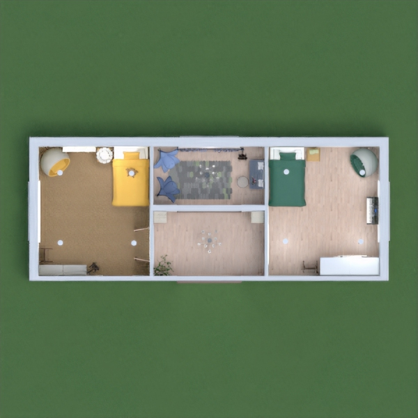 Mine may not be so modern. Although I tried to make it feel cosy and have a slight modern touch. In both bedrooms green and yellow are dominant. In the relaxation room I made it a place where you can just go relax and chill out. I hope you like it.