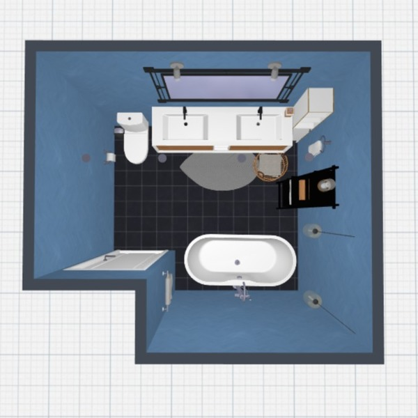 A clean blue bathroom for you