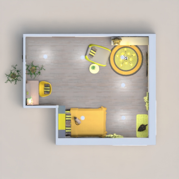 A child's bedroom (best suited for 8-13 year old). A small office/study space for school work, a chair and storage unit complete with a TV offer relaxation, and a bed for a child along one for the pets too. Designed for yellow and grays, this room is fit for this competition.