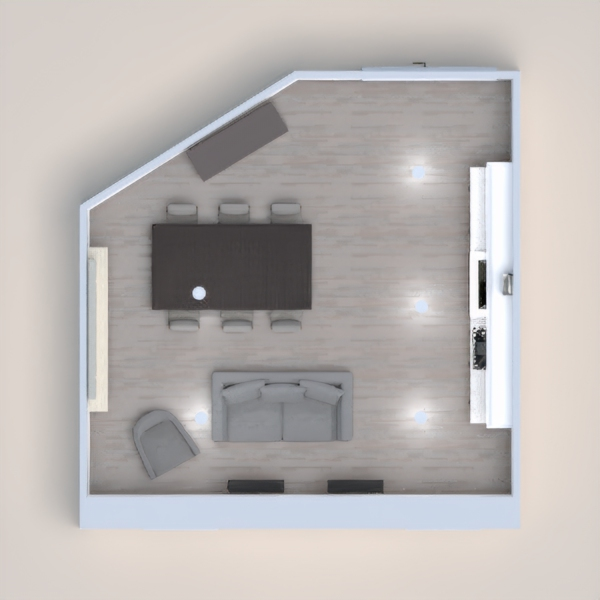 This is a modern take on a living room dining room and kitchen. As you can see there is a lot of wood and whitish gray tones in this space.    Please help me win this is my first project on this app!  Thank You, and have a great day!