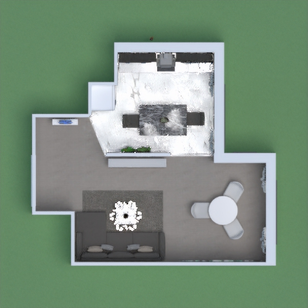 pastel living room+kitchen