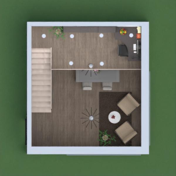 На первом этаже кухня и гостиная, на втором - рабочая зона