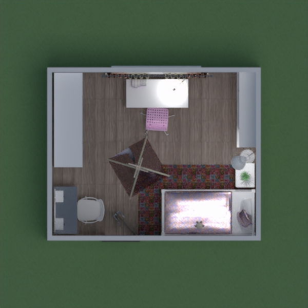 My room design for the girl is made in the style of white and pink. The room has a single bed, a nightstand, a dressing table, a wardrobe with a mirror, a desk, chairs and a shelf for things. Minor items - wigwam, toy, two lamps, curains, carpet and flower.