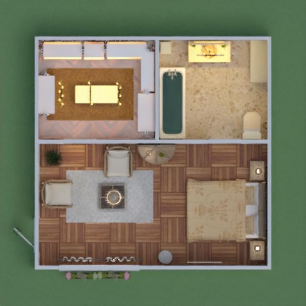 Dormitorio con vestidor y baño en tonos cálidos.