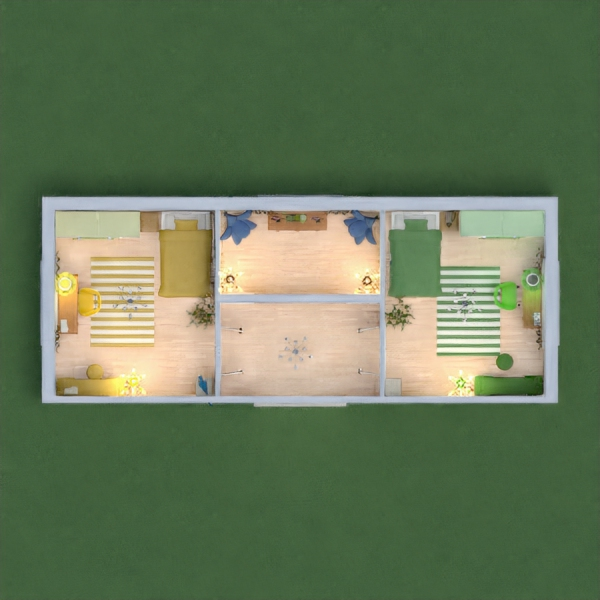 This is a nice sisters bedrooms! I did modern, fun, colors! The directions said to do the main colors green and yellows! Now that was a challenge! They are identical! I hope you like it! Thanks!