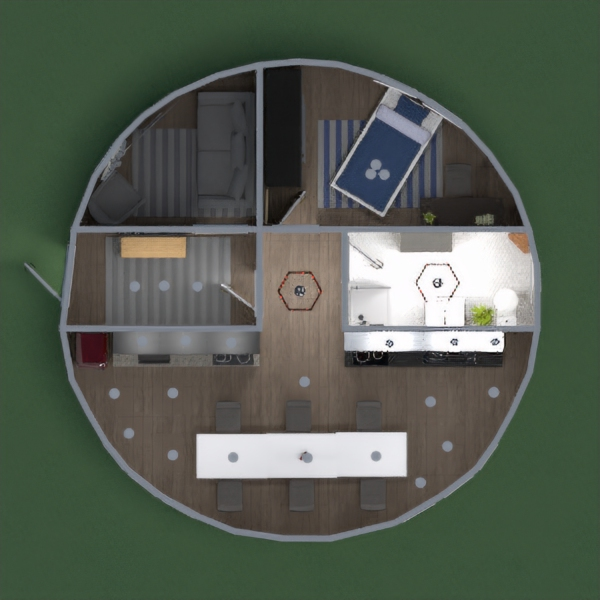 round house with living room kitchen bathroom 1 bedroom and a hallway by lily image