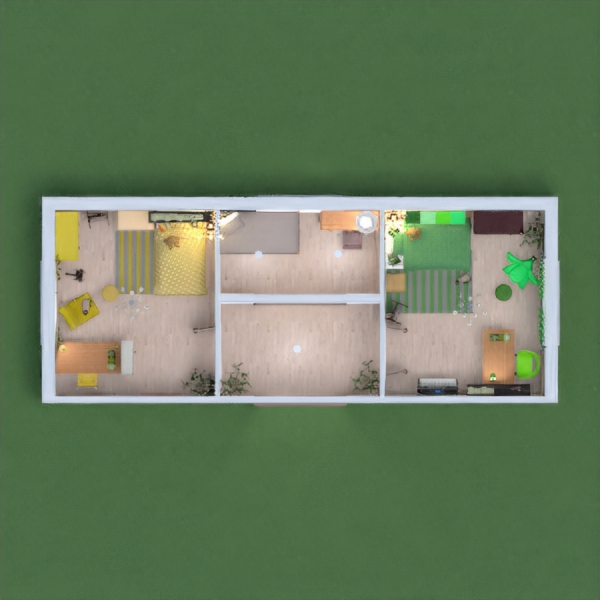 Green bedroom and yellow bedroom