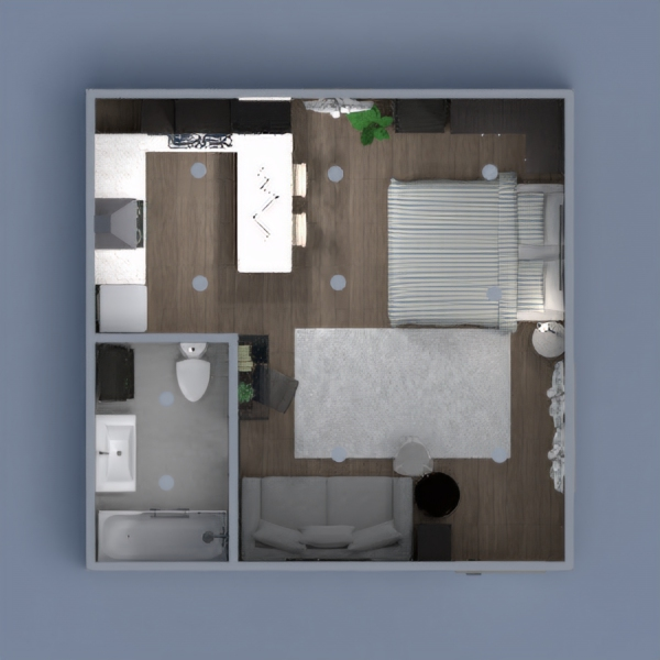 Very small studio apartment with a large kitchen and bathroom. Has multiple living spaces, even though there is no walls. Great for people in the city or young people