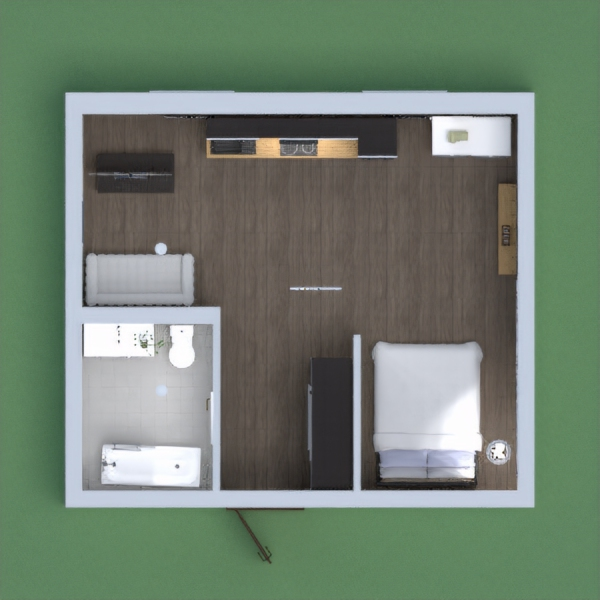 There wasn't enough room for the dininig table, but you can eat on the kitchen counter (maybe on the couch). But still, a comfortable little apartement.