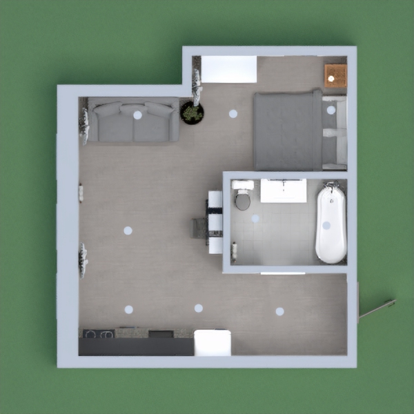 I have created a one bedroom apartment, giving the user a bedroom which they can close off with curtains to separate the living space with the bedroom. The bathroom consists a bath/ shower. Due to the size, I have carefully considered the layout to create space and storage.