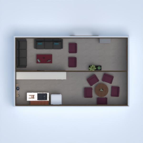 uma pequena sala e uma cozinha