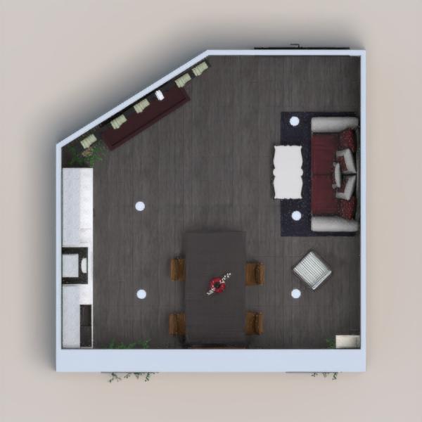 Cozinha e sala de estar.