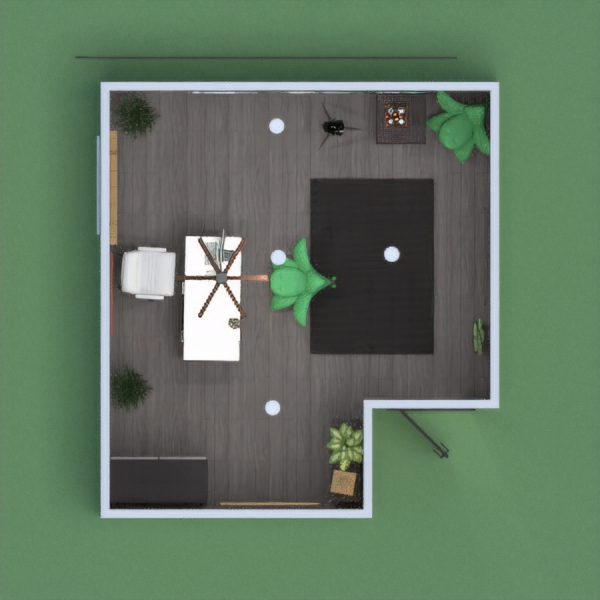 Small black and white office with green elements.
