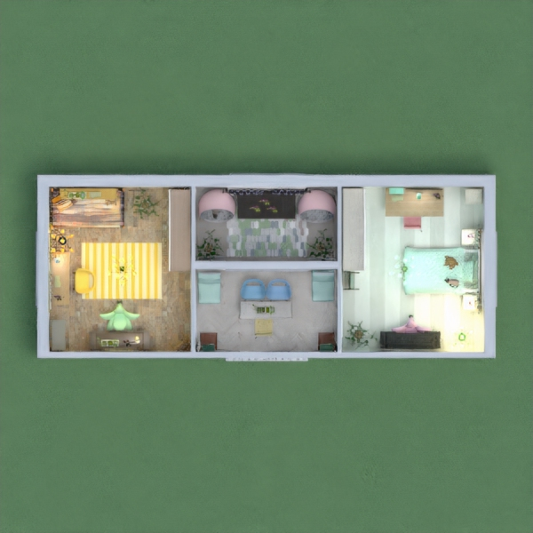 yellow and green bedrooms for 2 sisters. please give me you honest opinion and dont forget to vote :) it took me loads of time to stick to the specified colors . hope u like it