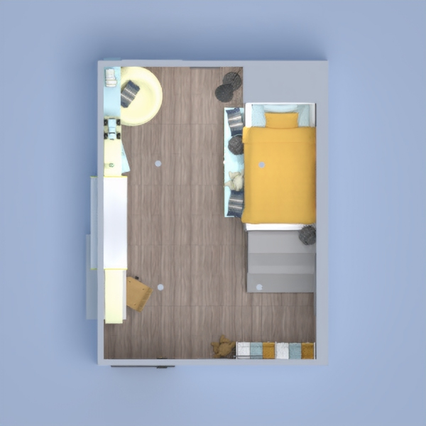 this a lovely yellow and blue theme boys room cute cozy loft bed