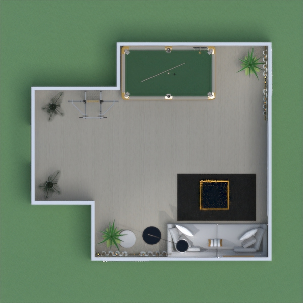 A modern game room, with games for everyone to play, nice seating, beautiful decorations, and plants.