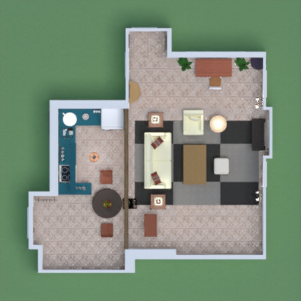 monicas apartment from friends- kitchen , dining table,livingrom,desk area and hallway