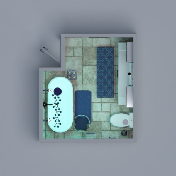 this is a bathroom that is calming and relaxing. The blue wall is Marble. You might even want to spend the night here. (: