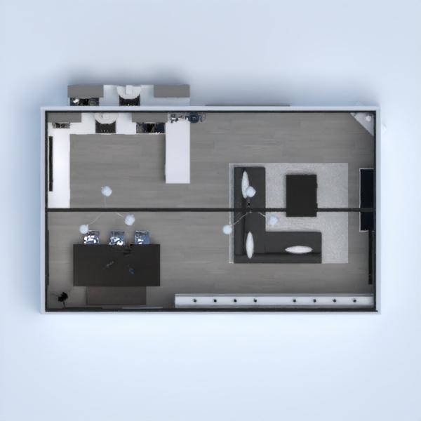 Salón- Comedor- Cocina- Blanco, negro y gris